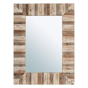 39.70 in. x 29.90 in. Farmhouse Rectangle Wooden Frame Wall Accent Mirror