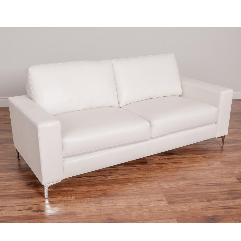 CorLiving Cory Contemporary White Bonded Leather Sofa