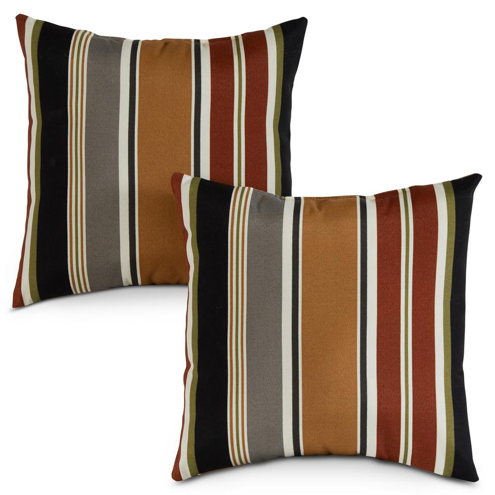 Greendale Home Fashions Brick Stripe Square Outdoor Throw Pillow 2 Pack Oc4803s2 Brick The Home Depot