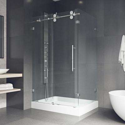 Winslow 48.125 in. x 79.875 in. Frameless Bypass Shower Enclosure in Chrome with Clear Glass and Left Base