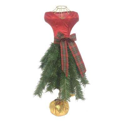 24 in. Unlit Red Christmas Tabletop Dress Tree
