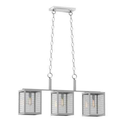 3-Light Brushed Nickel Island Pendant with Etched Clear Glass Shades