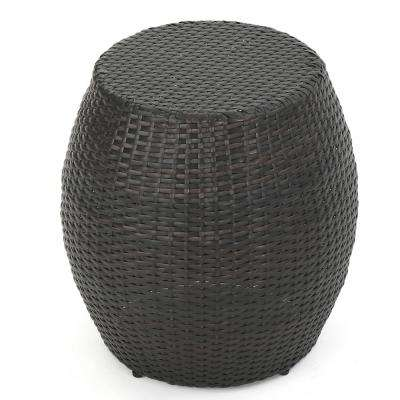 Matilda Multi-Brown Round Wicker Outdoor Side Table