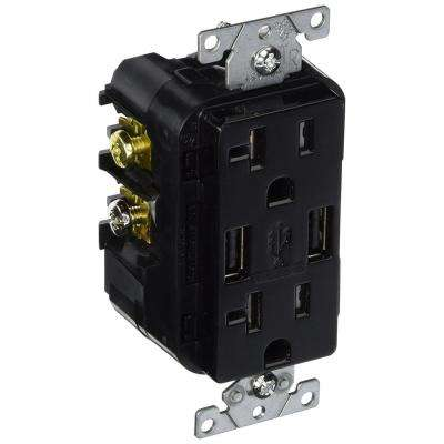 Decora 20 Amp Tamper Resistant Duplex Outlet and 3.6 Amp USB Outlet Charger, Black