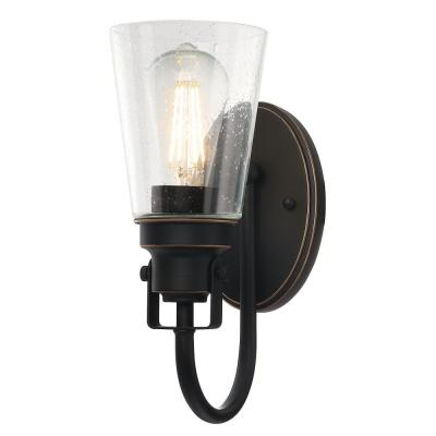 Ashton 1-Light Oil Rubbed Bronze with Highlights Wall Mount Sconce