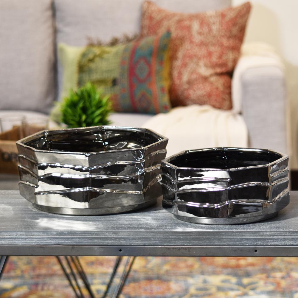 Silver Polished Chrome Ceramic Decorative Vase
