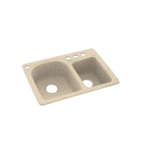 Swan Dual Mount Solid Surface 25 In X 18 In 4 Hole 60 40 Double Bowl Kitchen Sink In Bermuda Sand Ks02518db 040 4 The Home Depot