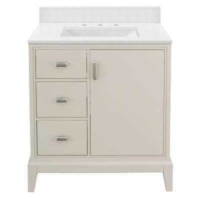 Shaelyn 31 in. W x 22 in. D Bath Vanity in Rainy Day LH with Engineered Marble Vanity Top in Snowstorm with White Sink