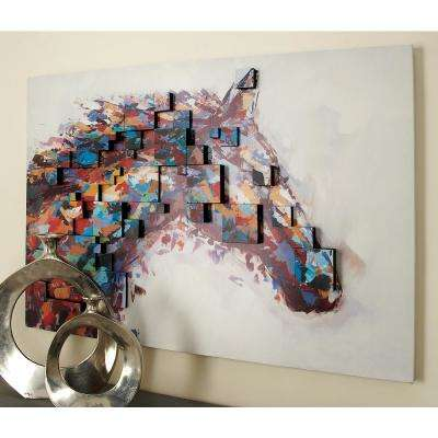 "32 in. x 47 in. ""Horse Head Color Field Dimensional"" by Uma Wall Art"