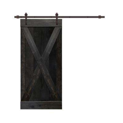 42 in. x 84 in. Charcoal Black Stained Pine Wood Interior Sliding Barn Door with Hardware Kit