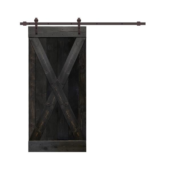CALHOME 42 in. x 84 in. Charcoal Black Stained Pine Wood Interior Sliding Barn Door with