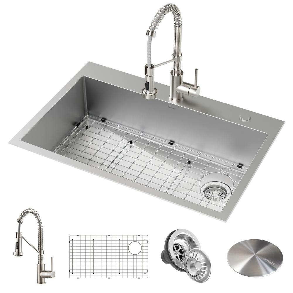 KRAUS Loften All-in-One Dual Mount Drop-In Stainless Steel 33 in. 2-Hole  Single Bowl Kitchen Sink with Pull Down Faucet
