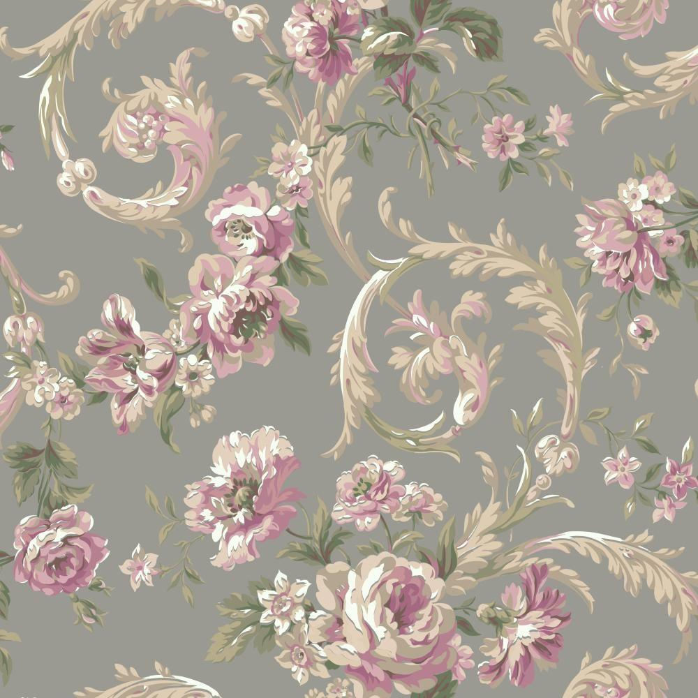 York Wallcoverings Shimmering Topaz Rococco Floral Wallpaper Em3885