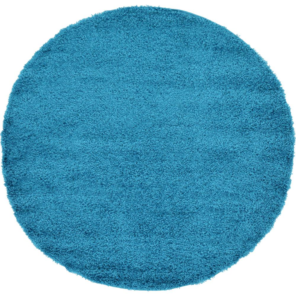 Unique Loom Solid Shag Turquoise 6 Ft. X 6 Ft. Round Rug
