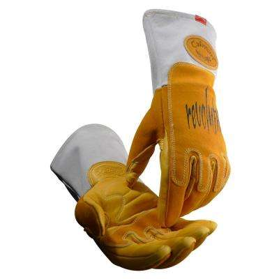 X-Large Gold Ergonomic Pig Grain Mig/Stick Welding Gloves