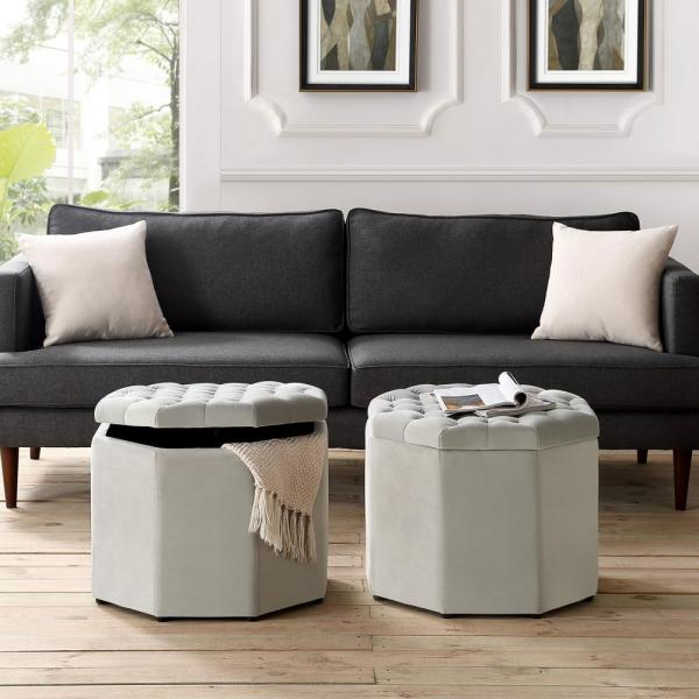 Inspired Home Luna Light Grey Velvet Upholstered Tufted Octagon Storage Ottoman