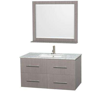 Centra 42 in. Vanity in Gray Oak with Marble Vanity Top in Carrara White, Square Sink and 36 in. Mirror