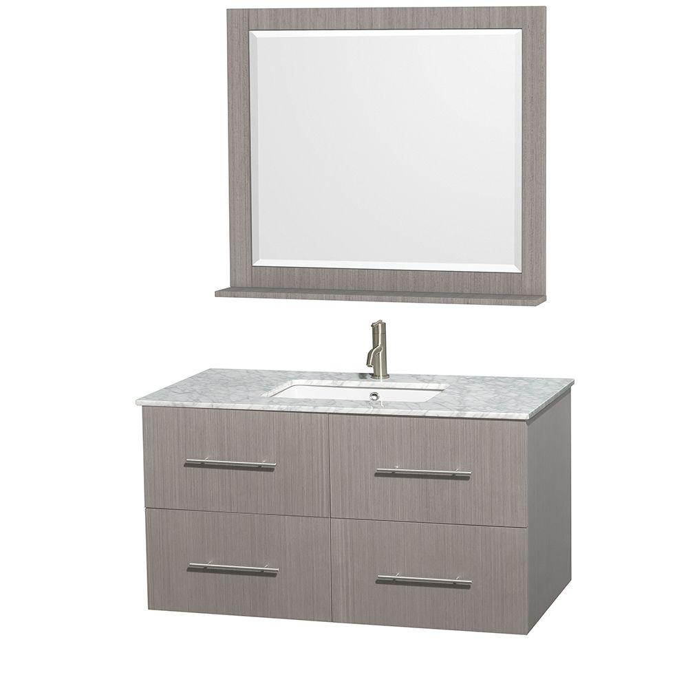 Centra 42 in. Vanity in Gray Oak with Marble Vanity Top
