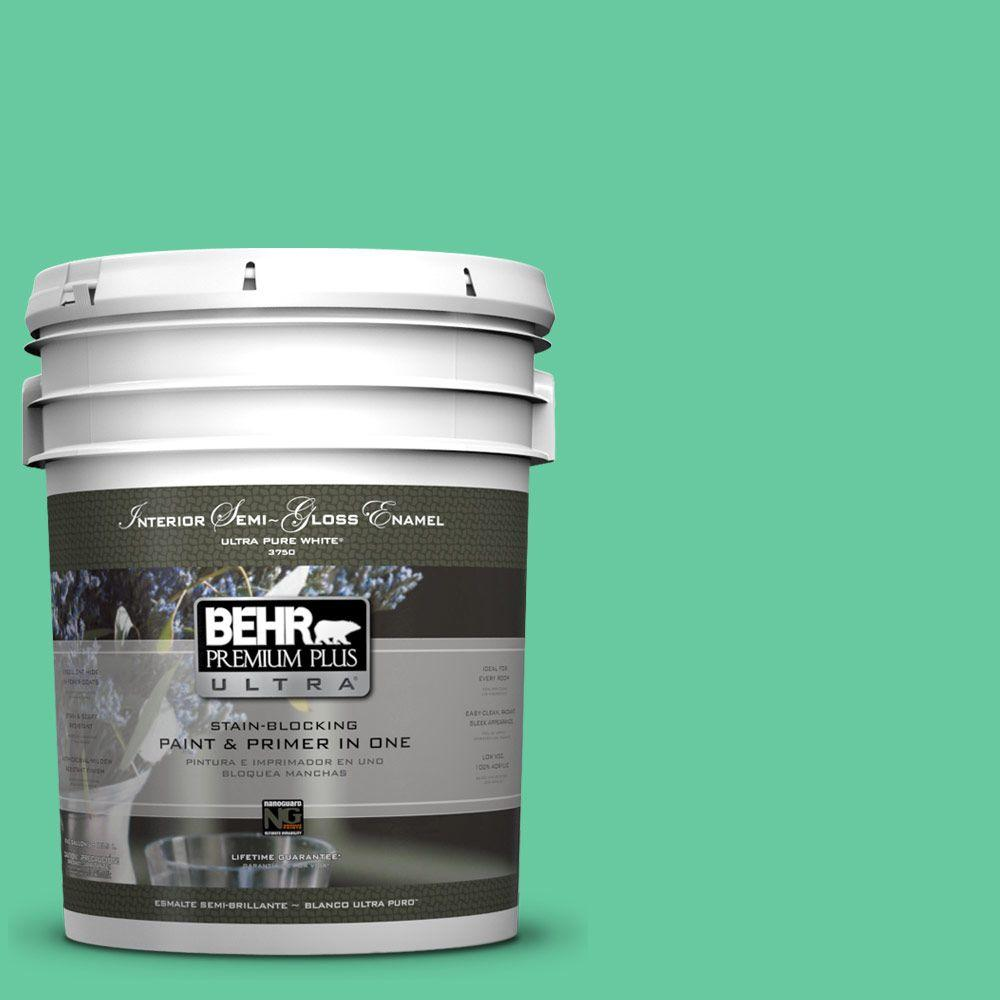 BEHR Premium Plus Ultra 5-gal. #470B-4 Intense Jade Semi-Gloss Enamel Interior Paint