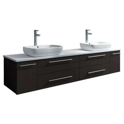 Lucera 72 in. W Wall Hung Bath Vanity in Espresso with Quartz Stone Vanity Top in White with White Basins