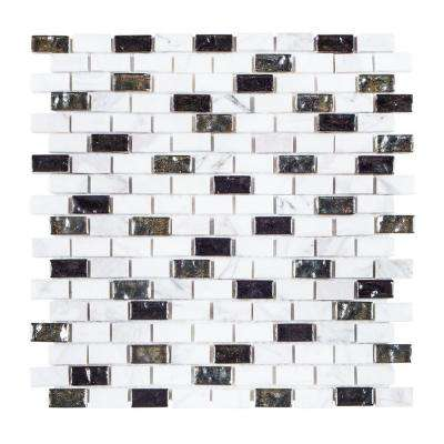 Polar Ice 11-3/8 in. x 12 in. x 8 mm Stone/Glass Mosaic Tile