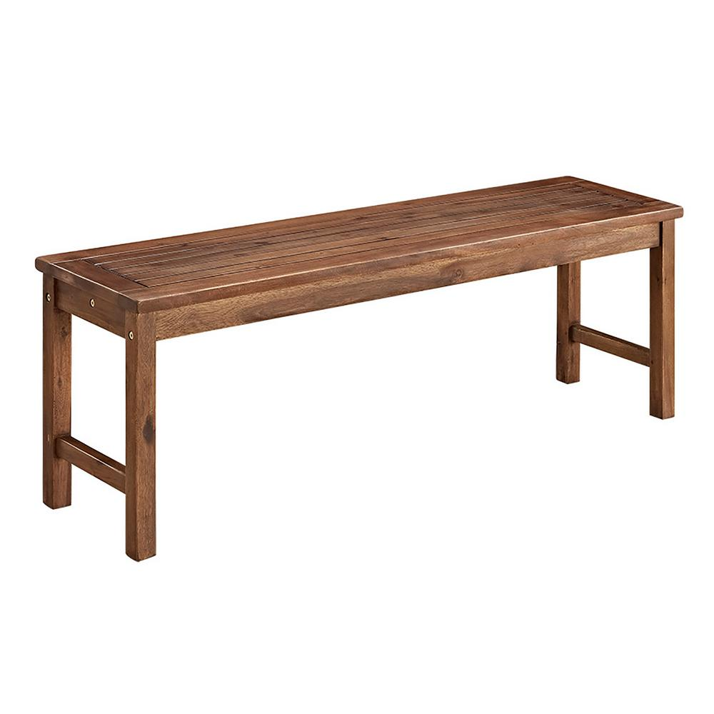 Walker Edison Furniture Company Boardwalk Dark Brown Acacia Wood Outdoor  Bench. Walker Edison Furniture Company Boardwalk Dark Brown Acacia Wood