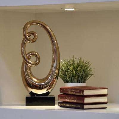 17.75 in. H Abstract Decorative Sculpture in Gold Polished Chrome Finish