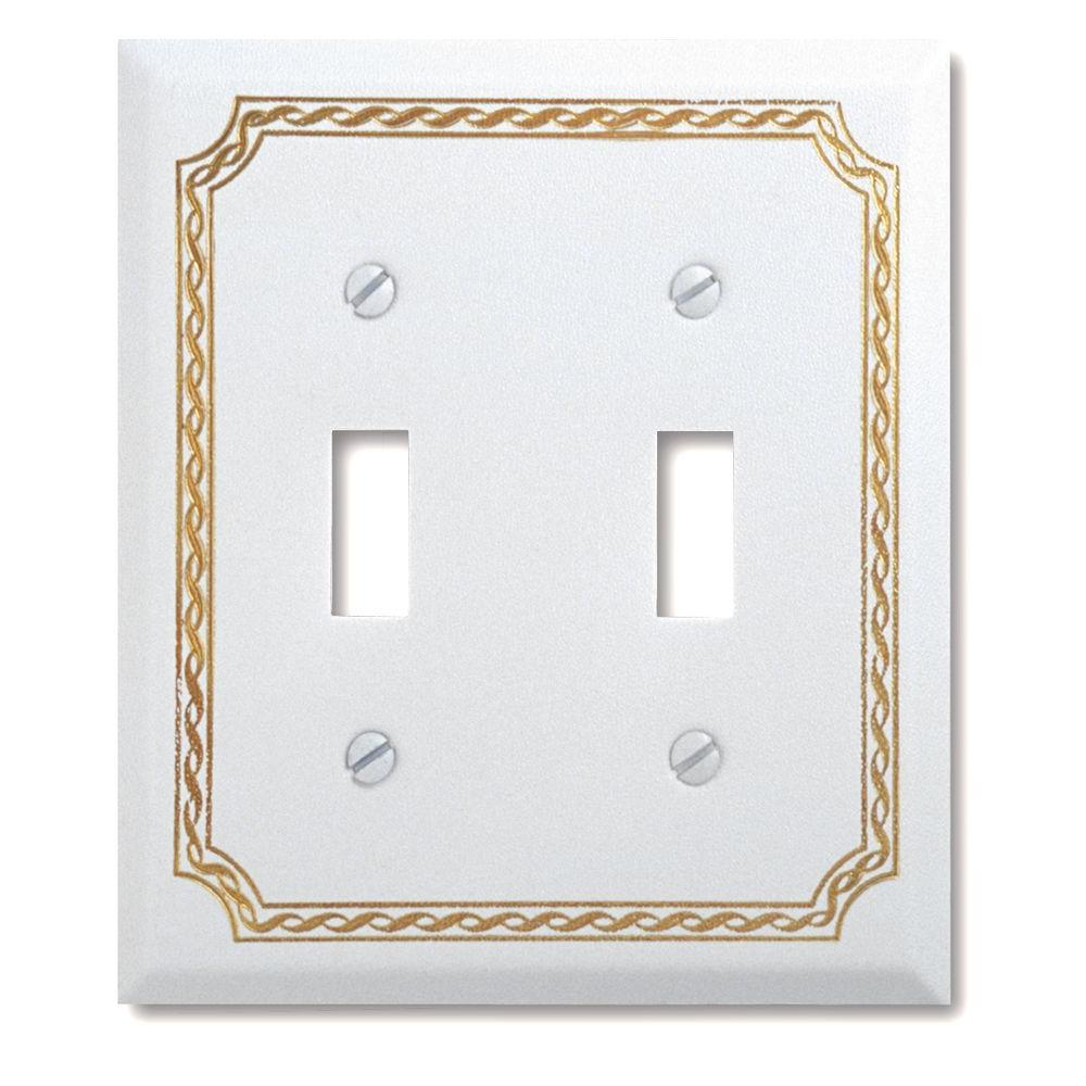 Amerelle Steel 2 Toggle Wall Plate - White