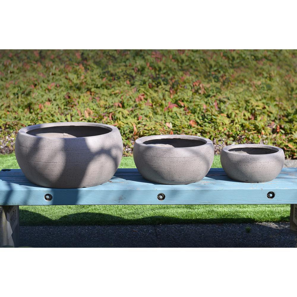 23 in. Clay Modern Zen Fiber Round Planter (Set of 3)