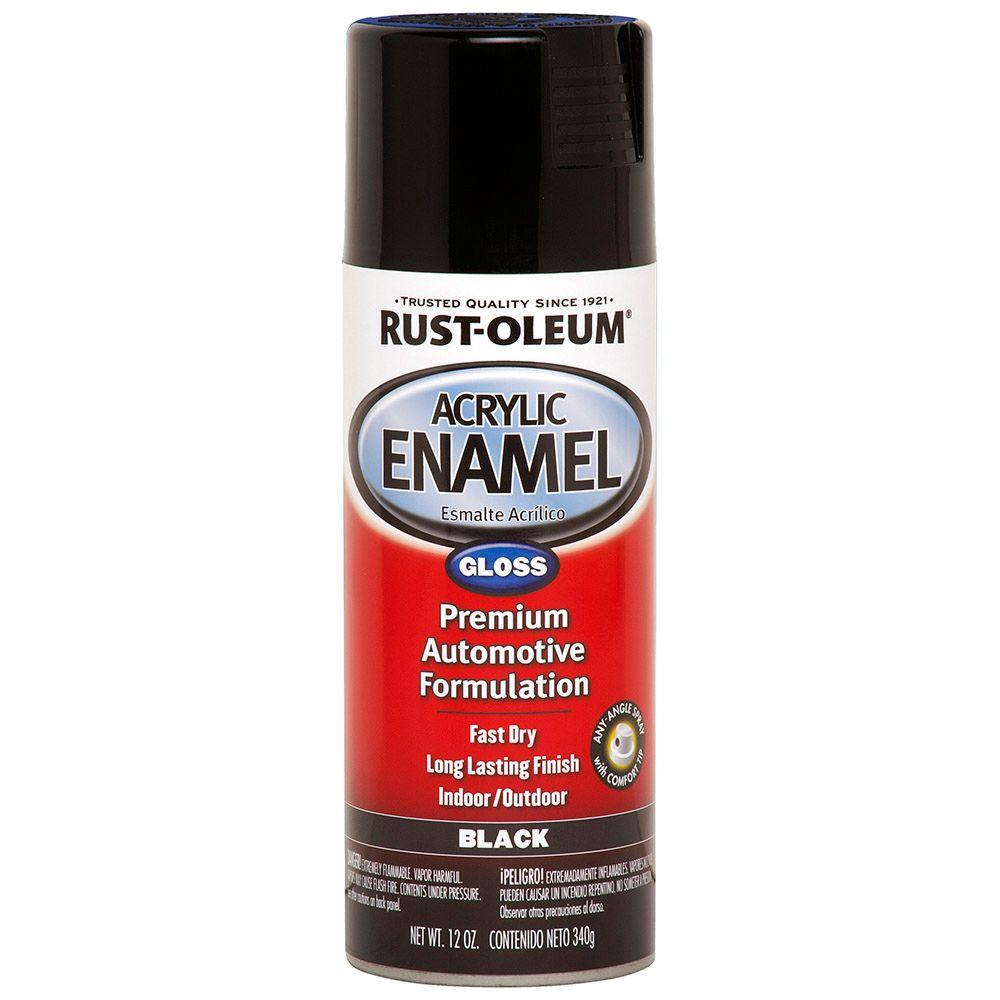 Acrylic Enamel Paint >> Rust Oleum Automotive 12 Oz Acrylic Enamel Gloss Black Spray Paint