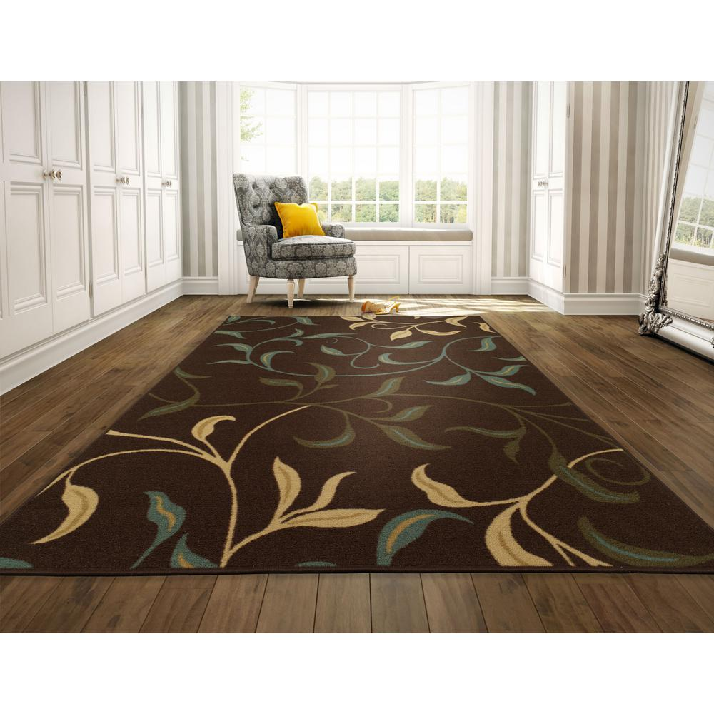 Ottomanson Leaves Design Brown 8 Ft X 10 Non Skid Area Rug