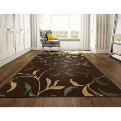 Leaves Design Brown 8 ft. x 10 ft. Non-Skid Area Rug