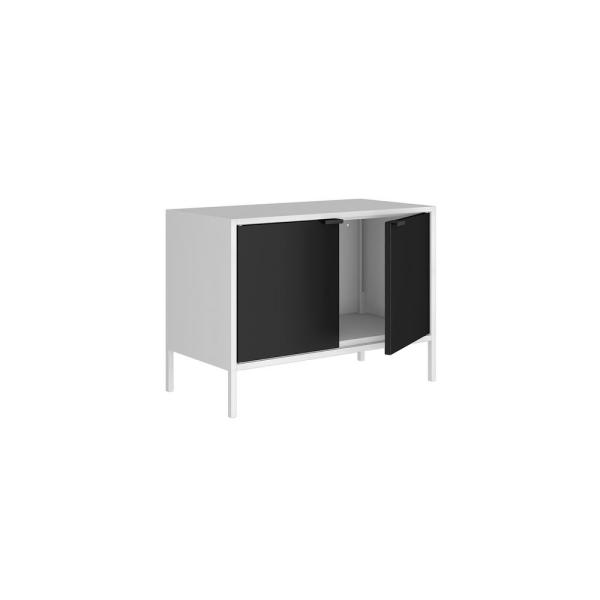 Manhattan Comfort Smart 28 In White And Black Metal Tv Stand Fits Tvs Up To 25 In With Cabinets 10gmc2 The Home Depot