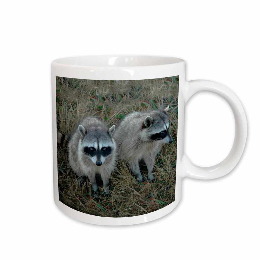 Wild animals 11 oz. White Ceramic Two Raccoons