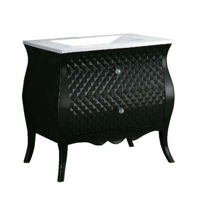 Banning 35.4 in. W x 22 in. D Single Vanity in Black with Phoenix Stone Vanity Top in White with White Basin