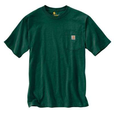 Men's Tall Large Hunter Green Cotton Short-Sleeve T-Shirt