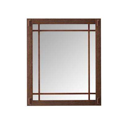 Artisan 25.5 in. W x 30 in. H Framed Single Wall Mirror in Dark Oak