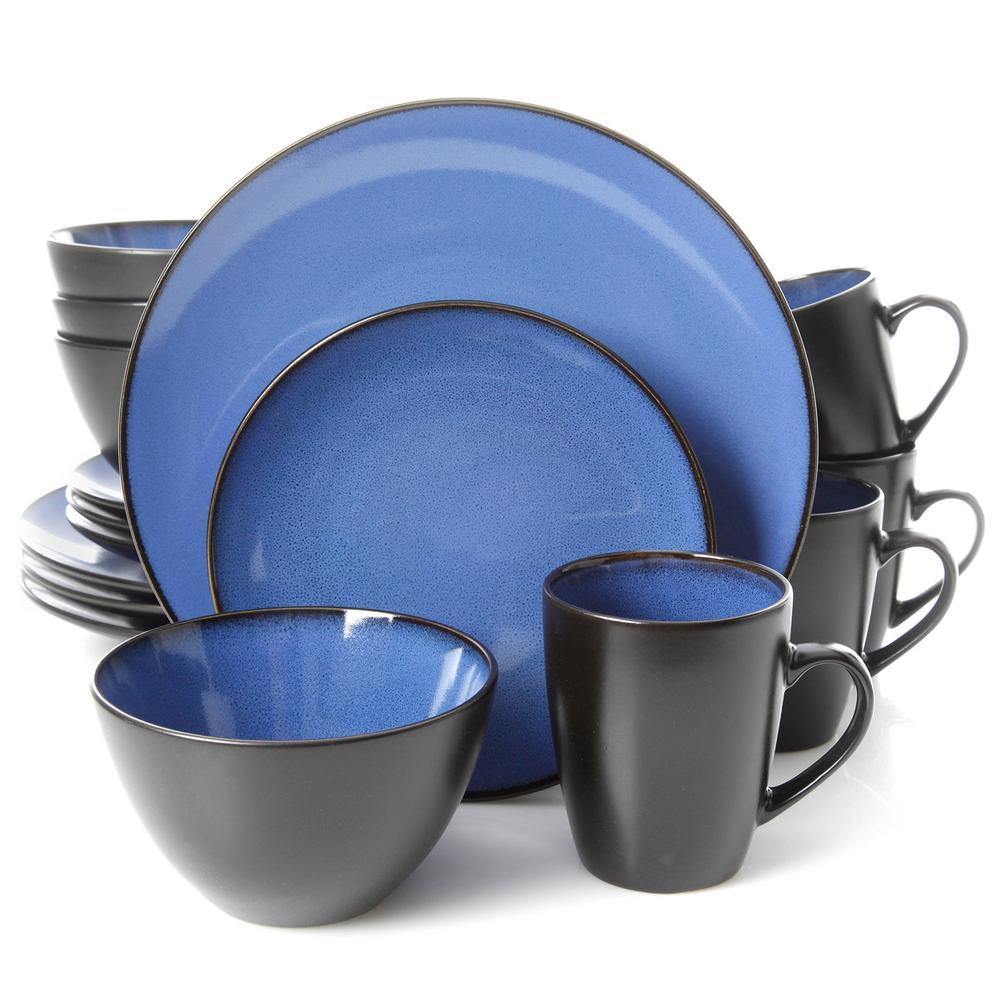 Soho Lounge 16-Piece Casual Blue Earthenware Dinnerware Set (Service for 4)