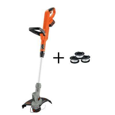 12 in. 20-Volt MAX Lithium-Ion Electric Cordless 2-in-1 String Grass Trimmer/Lawn Edger with Bonus 3-Pack of Spools