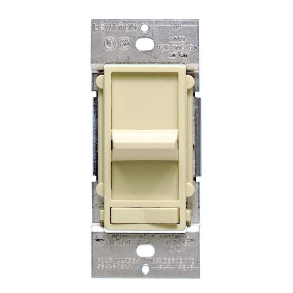 Decora SureSlide 600-Watt 3-Way/Single-Pole Incandescent Slide Dimmer, Ivory