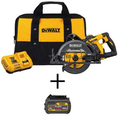 FLEXVOLT 60-Volt MAX Cordless Brushless 7-1/4 in. Wormdrive Circular Saw w/ Bonus FLEXVOLT 20/60-Volt Battery