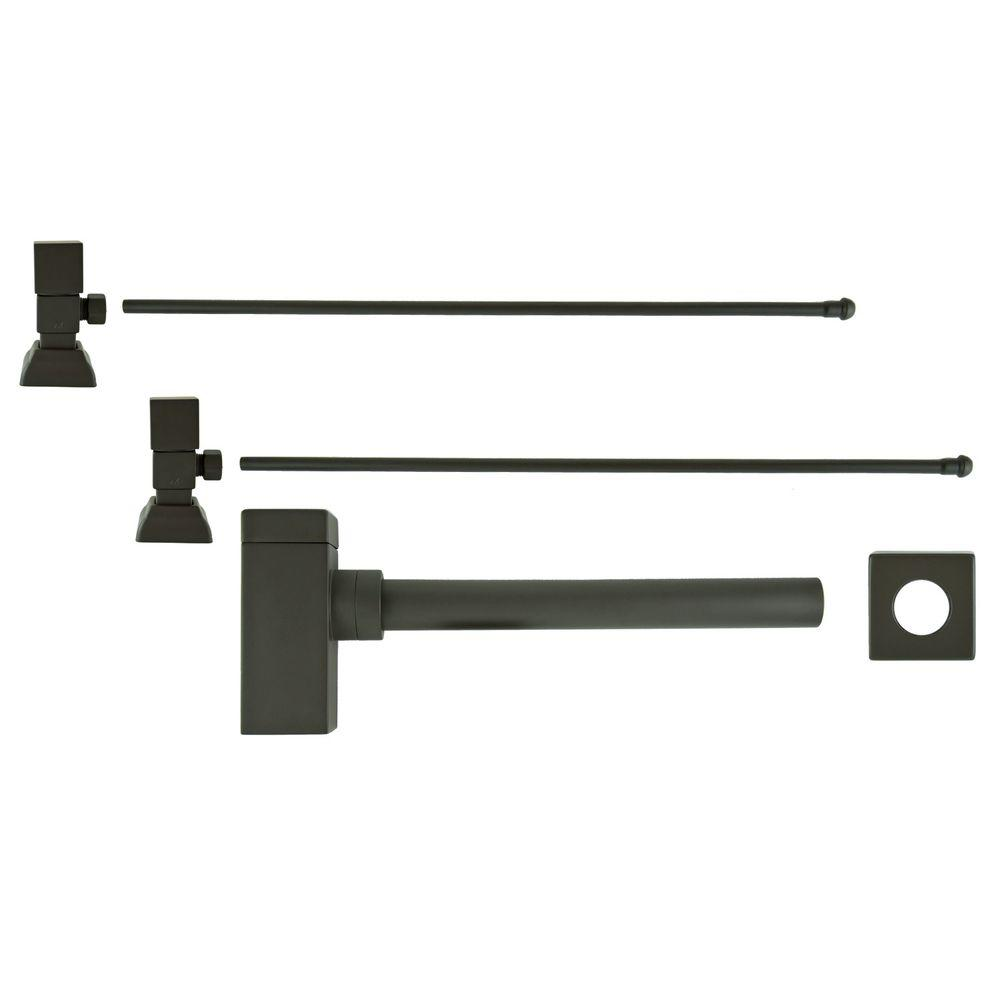 Barclay Products 3/8 in. x 20 in. Brass Lavatory Supply Lines with Square Handle Shutoff Valves and Decorative Trap in Oil Rubbed Bronze Barclay provides all your essential bathroom needs. Replace unsightly plumbing under your exposed sink with this decorative lavatory trap and supplies. Enjoy the convenience of accessible water shut-off. Color: Oil Rubbed Bronze.