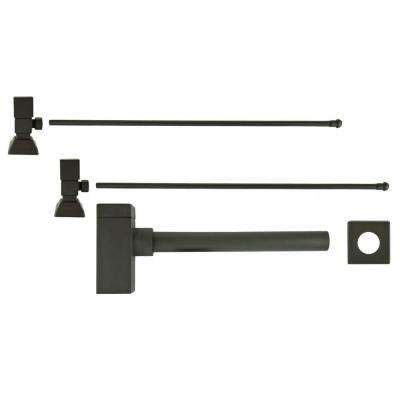 3/8 in. x 20 in. Brass Lavatory Supply Lines with Square Handle Shutoff Valves and Decorative Trap in Oil Rubbed Bronze