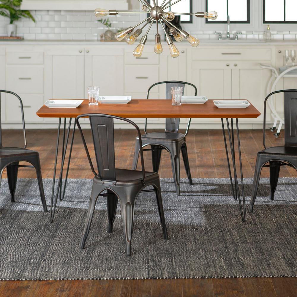 Contemporary 5 piece walnut black mid century modern urban square hairpin dining set with caf chairs