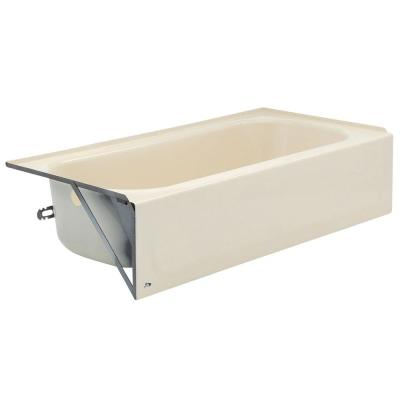 Aloha 60 in. Left Drain Rectangular Alcove Soaking Bathtub in Bone