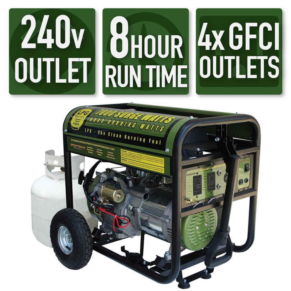Sportsman 7,000/6,000-Watt Propane Gas Powered Electric Start Portable Generator