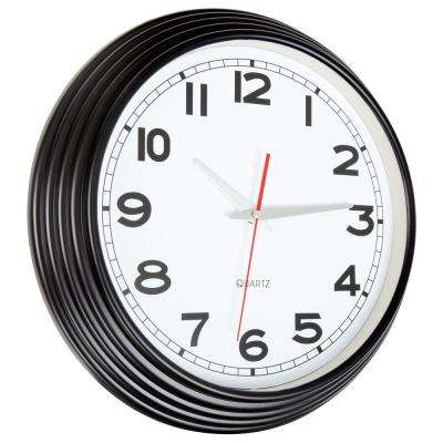 15 in. x 15 in. Black Retro Style Wall Clock