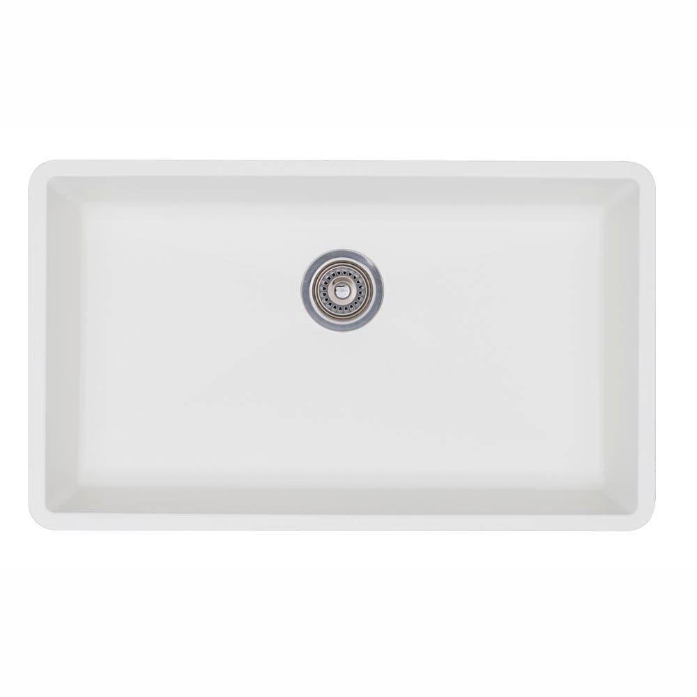 Beau Blanco Precis Undermount Granite Composite 32 In. Super Single Bowl Kitchen  Sink In White