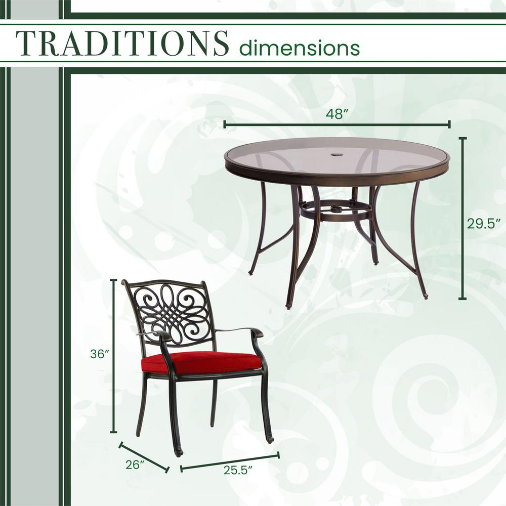 Coral Red Crosley Furniture Griffith 5-Piece Metal Outdoor Dining Set with Table and Chairs