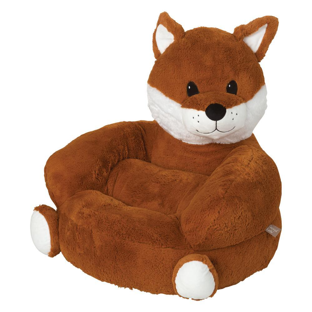 Orange Children's Plush Fox Character Chair